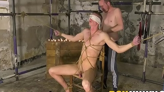 Cracked twink gets blindfolded before being blown hard