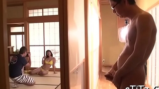 Demure japanese with hot love melons gives superb blowjob