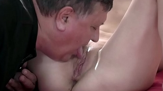 Russian Linda Love sucks off and rides on an old mans cock