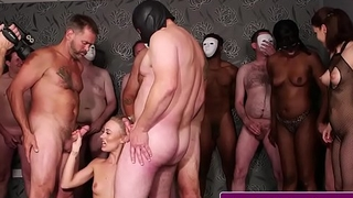 English spunk babe drenched with cum nearby group