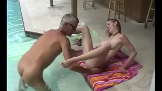Naked dad and daughter not far from a swim