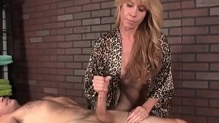 Mature masseuse babe ruins mans orgasm