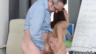 Impassioned schoolgirl is tempted and penetrated by aged teacher