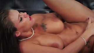 Busty glamour milf plowed on couch