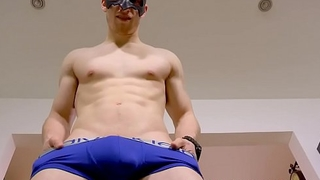 Solo cock masturbation with handsome jock who wears a mask