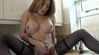 Busty mature ts wanking in transmitted to kitchen