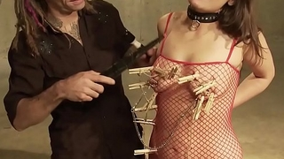 Hardcore and painful BDSM domination with blowjob