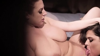 Two busty fat girls enjoyed in a sweet lesbian sex