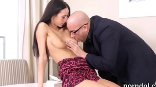Cuddly college girl is teased and fucked by senior schoolteacher