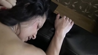 HUNT4K. Sucking cock next to her bf