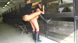 Olga Martinez and Rocco Siffredi have anal fun in the stable and on some hay