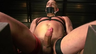 BDSM sub gets flogged and tugged by dom hunk