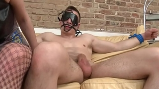 Euro domina pegging blindfolded slave