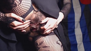 HD Upskirt Closeup Hairy Pussy plus Asshole in Crotchless Fishnet Tights