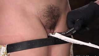 Bent over usherette pussy fucked with toy