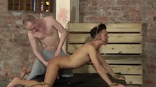 Pledged twink is tormented by his master before anal smarting
