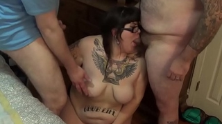 BBW hotwife Ravz gets on her knees and sucks two cocks