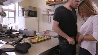 Hot hardcore threesome fuck with big cock chef, waitress and manager