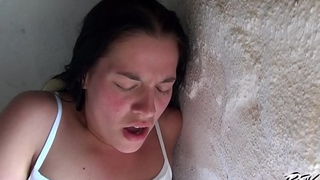 Busty Brunette Fucks with a Stranger coupled with gets Cum on her Belly