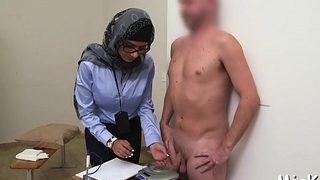 Dark and white dicks get jerked by a oversexed and busty arab hottie