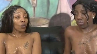 Throated black sisters get messy